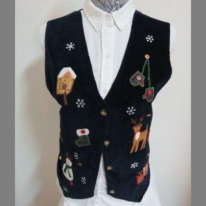 Sz L Blue Christmas Womens Velvet #67W Suit Vest